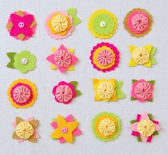 Adorable project to make flowered hair toys for your sweet little girl. I think they would also be really cute stitched onto a little girl's sweater or tshirt.
