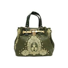 Women's Nicole Lee Bella Floral Leaf Design Satchel Bag - Olive... ($109) ❤ liked on Polyvore featuring bags, handbags, olive, green purse, rhinestone studded handbags, rhinestone studded purse, studded purse and floral purse
