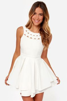 Flirting with Danger Cutout Ivory Dress at LuLus.com! Bachelorette party dress maybe?