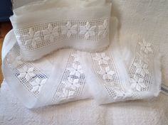 Antique Lace, Broderie Anglaise, Yellowed Vintage Trim. Sewing Supplies. Dolls & Bears, 14 yards Period Costume Vintage Wedding by BrocanteArt on Etsy