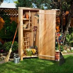 GENUINE Western Red Cedar storage sheds and garden hutches by ALL THINGS CEDAR garden furniture and Outdoor Garden Accessories. Featuring GENUINE Cedar wooden Shed kits, outdoor storage hutches, planter boxes and garden potting boxes. Backyard Storage, Garden Storage Shed, Deck Storage, Kayak Storage, Garage Storage, Storage Shelves, Shelving, Wood Storage Sheds, Outdoor Storage Sheds