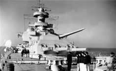 'Anton' and 'Bruno' forward triple 11 in turrets of battleship Scharnhorst, pictured on acceptance trials in