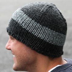 """A quick knit, the Watch Cap in My Mountain Schachenmayr Boston yarn makes a great gift for men and women.  Finished Sizes:18 (19, 20, 21)"""" around (shown in size 19"""") Yarn:1 skein each of Schachenmayr Boston (70%Acrylic / 30% Wool, 60yds/50g)colors 00098 (color A) and 00092 (color B) Needles:US size 10 (6.00mm) 16"""" circular and/or doublepointed needles or size needed to get gauge Gauge:12 sts and 16 rows = 4"""" in stockinette stitch"""