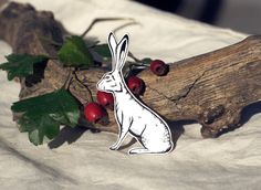 Hare brooch  -  a uniqe hand illustrated animal plastic pin, brooch, badge, quirky, vintage, animal gift forest vintage wild bunny rabbit by WooodlandFactory on Etsy