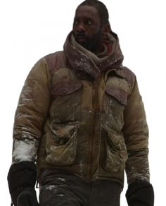 Idris Elba The Mountain Between Us Jacket Idris Elba Movies, Ben Bass, Rib Knit, Motorcycle Jacket, Mountain, Leather Jacket, Sleeves, Cotton, Jackets
