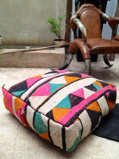Vintage kilim pouf / ottoman / foot stool by BazaarLiving on Etsy, £100.00