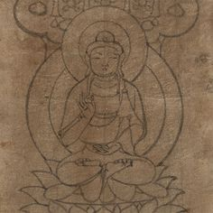 A stencil for cave wall paintings, with the buddha making the vitarka mudrā signifying teaching. IOL Tib J 1361.