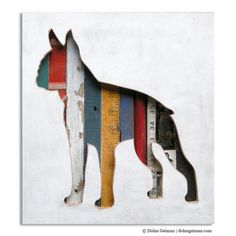 This could make for a great DIY Christmas gift for the pet-lover in your life! Layer a cut-out of their favorite breed over old painted or stamped wood, unique driftwood, rope, textured wooden trim, and other interesting scraps.