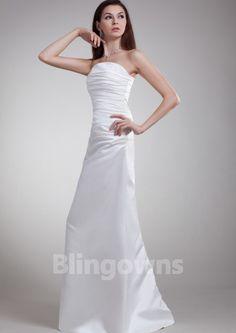 Floor Length A-line Strapless Zipper Taffeta White Ruched Sleeveless Wedding Dresses