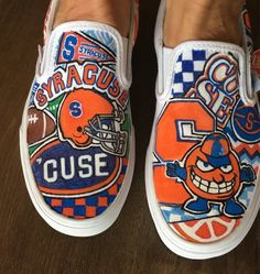 Syracuse University custom personalized hand painted canvas slip on sneakers  or shoes bfcef7d65de