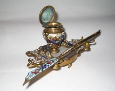 French 19th Century Cloisonne inkwell and matching pen