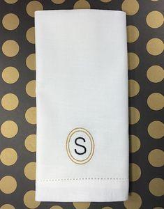 Single Letter Circle Monogrammed Napkins - Set of 4 napkins