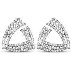 0.84 Carat Genuine White Diamond 14K White Gold Earrings (G-H Color, SI1-SI2 Clarity)