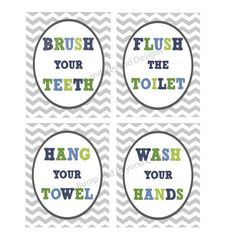 Kids BATHROOM WALL ART Instant download Printable Wash your hands Brush your teeth Hang your towel Digital Kid Bathroom Wall Art Chevron 008 on Etsy, $6.00