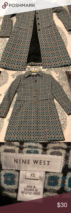 Nine West Tweed duster jacket.  EUC Black and blue Nine West Tweed duster jacket.  Black and blue.  Covered buttons, four side/front pockets.  Size xs but really more like a small/medium.  EUC Nine West Jackets & Coats