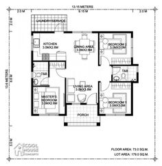 5 Bungalow House Design With 3 Bedrooms And 2 Bathrooms (Floor Plans Included) Bungalow Floor Plans, Small House Floor Plans, Home Design Floor Plans, My House Plans, 3 Bedroom Floor Plan, Three Bedroom House Plan, Bathroom Floor Plans, 3 Bedroom Bungalow, Modern Bungalow House
