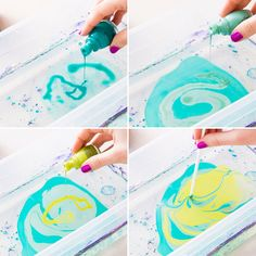 Use nail polish and water to create marble paint.