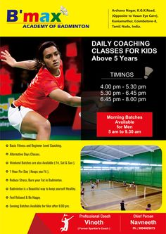 Exclusive Brochure Designed for B`Max - Academy of Badminton by #123coimbatore team => http://www.webdesign.123coimbatore.com/brochures.php