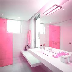 90 best pink bathrooms images pink bathrooms, bathroom colorscharming designs for girls bathrooms feminine pink nuance girls bathroom decoration with doorless shower area and alluring bathroom vanity lighting also