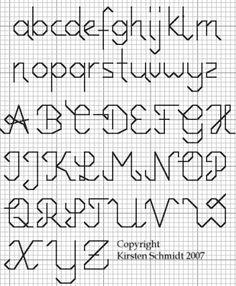 Afbeeldingsresultaat voor alphabet back stitch patterns Cross Stitch Letter Patterns, Cross Stitch Letters, Cross Stitch Boards, Stitch Patterns, Blackwork Cross Stitch, Cross Stitch Samplers, Cross Stitching, Basic Embroidery Stitches, Embroidery Alphabet