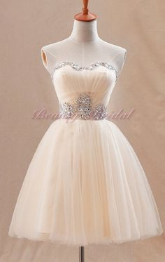 Chiffon White/Champagne short Evening dress prom by beautybridal, $129.00