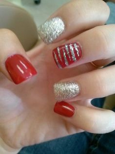 Red and silver with zebra accent nails unhas nails, prom nails и trendy . Red And Silver Nails, Blue Nails, Zebra Nails, Homecoming Nails, Prom Nails, Holiday Nails, Christmas Nails, Silver Christmas, Get Nails