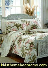A tropical Hawaiian quilt bedding collection in greens, corals and cream, the Tommy Bahama Bonny Cove bedding ensemble will transform your bedroom into an oceanside luxurious cottage inspired retreat.