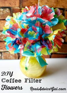 Coffee filter flowers craft, a nice DIY Mother's day gift