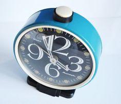 Turquois retro clock vintage alarm clock retro by oldschoolvibes, $38.00