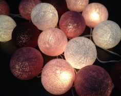 SALE 10%!  2 sets of Cottonball lights home decor,wedding patio,party decor,20 pcs.indoor string lights bedroom fairy lights maroon color