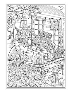 Creative Haven Country Charm Coloring Book (Creative Haven Coloring Books) Garden Coloring Pages, Blank Coloring Pages, Free Adult Coloring Pages, Cartoon Coloring Pages, Animal Coloring Pages, Colouring Sheets For Adults, Coloring Sheets, Landscape Pencil Drawings, Creative Haven Coloring Books