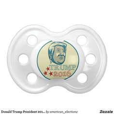 Donald Trump President 2016 Oval BooginHead Pacifier. Illustration showing American real estate magnate, television personality, politician and Republican 2016 presidential candidate Donald John Trump with words Trump 2016. #Trump2016 #republican #americanelections #elections #vote2016 #election2016