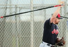 Cleveland Indians relief pitcher Bryan Shaw stretching before throwing on Diamond #3 at spring training in Goodyear, Arizona on Feb. 18, 2017.  (Chuck Crow/The Plain Dealer)