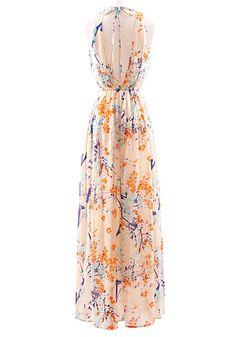 Orange Flowers Irregular Cascading Ruffle V-neck Polyester Dress - Dresses