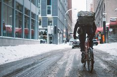 """Stay warm and carry on y'all! ❄️    Shot by our man @gophrette   """"I don't like to put myself in a box and call myself a photographer, rather, I am an observer who likes to capture scenes in the moment""""    #nvayrk #photography #cyclingconnects #boundless #montreal #canada #winter"""