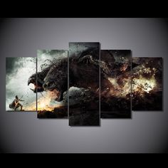 Style Your Home Today With This Amazing 5 Panel Wrath of The Gods Framed Wall Art Canvas For $44.00  Discover more canvas selection here http://www.octotreasures.com  If you want to create a customized canvas by printing your own pictures or photos, please contact us.
