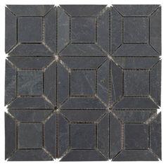 Brushed Squares Slate Mosaic - x - 100047380 Slate Bathroom, Bathroom Floor Tiles, Bathroom Ideas, Basement Bathroom, Bath Ideas, Wall Tile, Black Bathroom Floor, Natural Bathroom, Light Bathroom