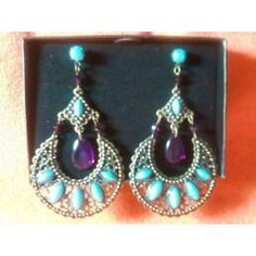 "Turquoise, Deep Amethyst, & Brass Half Moon Dangle Earrings - AVON  Yardsellr gives you $5 photons to spend FREE when you pledge to ""shop small"" here http://yardsellr.com/shopsmall ! I offer FREE shipping so shop here http://yardsellr.com/yardsale/..."