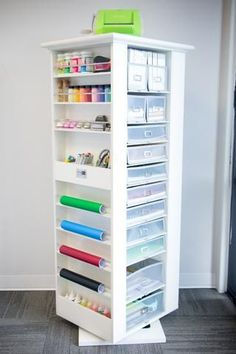 The Studio Tower It's finally here! Spring has sprung and our line of products has expanded! Read below for pictures and details of our newest addition, The Studio Tower! Black or white? Sewing Room Organization, Craft Room Storage, Locker Storage, Organizing, Storage Ideas, Craft Rooms, Paper Storage, Storage Solutions, Craft Room Design
