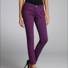 Plum skinny jeans A great pair of plum colored skinny jeans! They are stretchy like jeggings so they're super comfy. The color is perfect for fall. Jeans are skinny and inseam measured about 29in. Priced low to sell, price firm unless bundled. Rue 21 Jeans Skinny