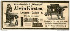 Original-Werbung/ Anzeige 1905 - MASCHINENFABRIK DIAMANT / ALWIN KIRSTEN - LEIPZIG-GOHLIS - ca. 100 x 40 mm