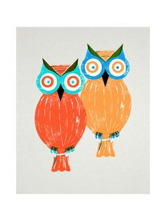 Two Owls Wall Art Prints by Anne Crosse | Minted