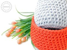 round crochet baskets made with Phil Corde macrame yarn. Crochet home decoration by MalkishuArt