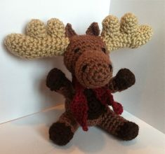 Fun crochet pattern of a Moose on Etsy! Makes a cute amigurumi animal that works as a child's toy, decoration or an ornament.  https://www.etsy.com/listing/164460248/pattern-for-malcolm-the-moose?ref=sr_gallery_36&ga_search_query=crochet+moose+pattern&ga_view_type=gallery&ga_ship_to=US&ga_page=1&ga_search_type=all
