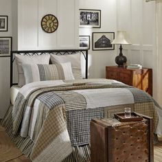 The Ashmont Queen Quilt features random sized squares in coordinating stripe and…