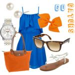 Gators and Bows.  Love this blue ruffle dress, orange bag and bow and white sandals.  Also, I've been wanting an orange purse for ages.