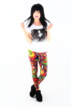 Super comfy, so much room for activities, and designs that will stop people in the street. Stand out from the crowd in our amazing leggings! Living Dead Clothing, Geek Stuff, Punk, Wonder Woman, Leggings, Superhero, Chic, How To Wear, Stuff To Buy