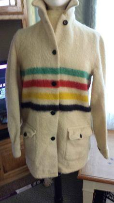 Vintage Hudson Bay Striped Blanket Coat Wool Off-white Green Red Yellow Blue #GenuineHudsonsBayPendletonCoat #Outdoor