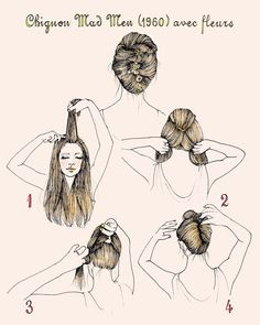 She Lets Her Hair Down: Tutorial :: 1960s French Twist with Flowers illustration by Samantha Hahn