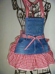 Interesting ideas for decor: We sew an apron from old jeans. We sew an apron of old jeans. Sewing Aprons, Sewing Clothes, Diy Clothes, Denim Aprons, Jean Crafts, Denim Crafts, Jean Apron, Redneck Girl, Cute Aprons